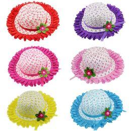 Wholesale Kid Chapeau Hat - Fashion Kids Hat Weave Photo Props Hollow Woven Straw Cap Baby Sun Hats for Children 2-8Y Sunshade Beach Cap Chapeau