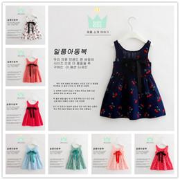 Wholesale Straight Knee Length Dresses - 2016 New Hot Korean Sleeveless Dresses For Girls Cotton Blends Cherry Printing Children Dresses 8 Colors Cute Beatifull Child Princess Dress