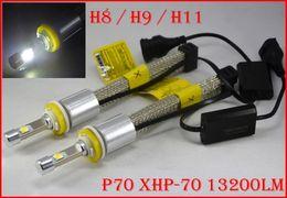 Wholesale Lamp Led H16 - Newest 1 Set H11 P70 Cre 6600LM 110W LED Headlight Conversion Kit XHP-70 Driving Fog Lamp Bulb H7 H8 H9 H4 H16(JP) 9006 H13 9007 55W 13200lm