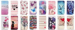 Wholesale Iphone Cover Lover Cartoon - Dreamcatcher Bear Family Lover Bear Flower Flip Cover For Iphone 7   Iphone7 Plus For LG LS775 K7 K4 Wallet Leather Butterfly Cartoon Case