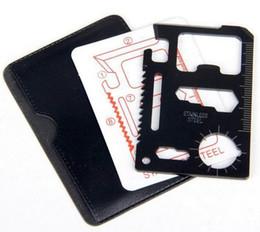 Tarjeta de crédito 11 en 1 bolsillo inoxidable Tarjeta de crédito Abridores de cuchillos Múltiples herramientas Senderismo Caza Camping Supervivencia Aire libre Equipo Kits de ahorro de vida desde fabricantes