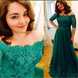 Wholesale Emerald Green Dresses Plus Size - Emerald Green Plus Size Prom Dresses Off The Shoulder A-line Tulle Appliques Lace 2017 Maxi Evening Party Gowns Half Sleeves