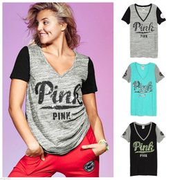 Wholesale Polyester Spandex Wholesale Tops - VS PINK Letter Printed short sleeve T Shirt V-neck Fashion clothing PINK tops Europe tees fashion vest Tops Black Grey
