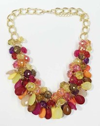 Wholesale Teardrop Necklace Acrylic - New Multi Colours Faceted Beads Floral Necklace Acrylic Beads Teardrop Curtain necklace Flower Shape Statement Necklace