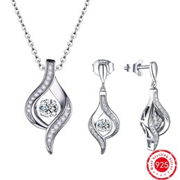 Wholesale Diamond Stone Pendant - Hot Selling Dancing Diamond 925 sterling silver earrings with stones & Silver Pendant Jewelry Set for Women Birthday Party DE83320A&DP57220A