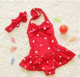 Wholesale Kids Tankini Swimsuits For Girls - 2016 New Summer Girls Swimsuit Dots Bow Fashion Baby Swim Sets Bikini Children Skirt Swimsuits for Kids Girl Tankini