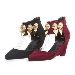 Wholesale Wedge Heel Shoes Size 32 - 2016 Plus small size 32-43 suede metal charm high wedge heel solid open toes zip lady casual shoes women roman sandals 7351
