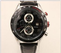 Wholesale Luxury Black Calibre 16 - Luxury Calibre 16 ETA 7750 Movement 43mm Black Dial Mens Chronograph Watch Stainless Steel Date Automatic Men's Wrist Watches