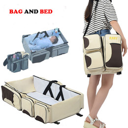 Wholesale Folding Baby Crib Portable - Retail Portable Baby Bed Crib Outdoor Folding Bed Travelling Baby Diaper Bag Infant Safety Bag Cradles Bed Baby Crib Safety Mommy Bag