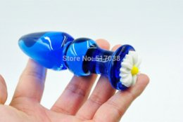 Wholesale Wife Anal Beads - Blue pyrex glass Anal butt plug crystal dildo beads Female male adults masturbation products Sex toys for women men wife couple