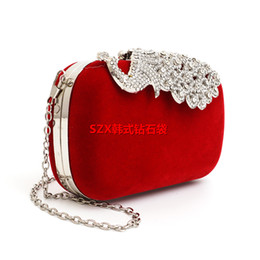 Wholesale Evening Peacock Clutch Handbags - Brand New Lady Mini Handbag Royal Blue Diamond Peacock Clutch Handbag Crystal Diamond Evening Bag Rhinestone Drops Shoulder Bags
