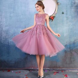 Wholesale Tea Length Dresses Stock - In Stock A Line Homecoming Dresses Pink 2017 Hot Sale Tea Length Graduation Dresses with Lace Appliques Beaded Short Prom Dresses CPS298