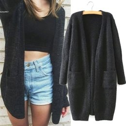 Wholesale Long Sweater Coat Sales - 2016 Desinger Knitted Loose Sweater Cardigan womens tops Loose Long Sleeve Casual Outwear Black Long Style Hot Sale Coat