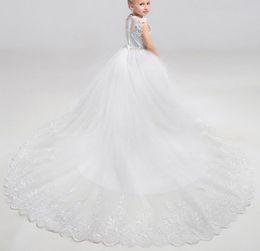 Wholesale Most Beautiful Princess Wedding Dresses - The most beautiful little girl dresses flower by hand decoration small round collar sleeveless chiffon girl formal occasions dress