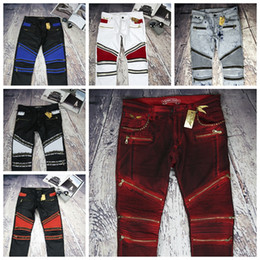 Wholesale Fly Flags - Robin Zipper jeans for men Classic Biker Jeans Wash Studded Cowboy Slim Denim Trousers with Wings American Flag Jean Mens Skinny Pants