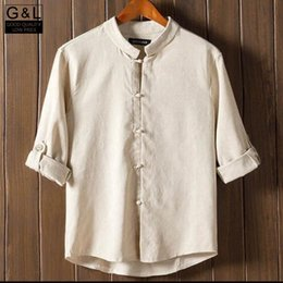 Wholesale Men Tang Suit Chinese - Wholesale-Wholesale New Arrival Classic Look Chinese Style Men Kung Fu Shirt Tops Tang Suit 3 4 Sleeve Shirts Tops Cotton Linen Shirts