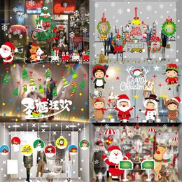 Wholesale New Wall Stickers Christmas - 2017 new Christmas stickers window glass wall stickers shop store window decorations stickers multiple types 17015-17031