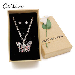 Wholesale kids necklace chain - 2017 Cute Kid Jewelry Set Butterfly Necklace Women Silver Chain Pink Rhinestone Necklace For Girls Daughter Christmas Children Gift With Box