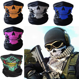 Wholesale face mask bandana neck - New Skull Face Mask Outdoor Sports Ski Bike Motorcycle Scarves Bandana Neck Snood Halloween Party Cosplay Full Face Masks WX9-65