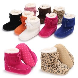 Wholesale Kids Flat Bow Shoes - Kids winter Shoes infant Bow snow Boots cotton Girls boys Fashion Leopard tassel Boots Baby First Walkers
