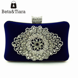Wholesale Cell Phones Accessories For Sale - Hot Sale Blue Evening Bag with Metal Chain Accessory Black Red Flannelette Clutch Bags for Women Wedding Party Crystal Clutch