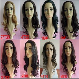 Wholesale Wholesale Deep Wave Wig - wholesale 3 4 Half Wig Heat Resistant Synthetic Wig Hair 200g 24inches