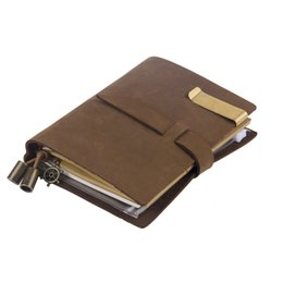 Wholesale High Quality Leather Notebooks - Wholesale- Handmade Genuine Leather Notebook Travel Notebook Vintage Style High Quality Notebook School Supply Office Accessories
