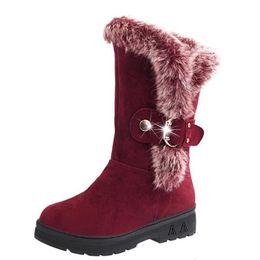 Argentina Botas de nieve de las mujeres Tobillo 2017 Invierno Cálido Zapatos Casuales Femeninos Plataforma Mujer Piel Punta Redonda Botas de Moda plana Cómoda Suministro