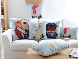 Wholesale Dog Cock - Free shipping Novelty gift Cool mr. dog bird rabbit cock rooster in suit pattern linen Cushion Cover home car decorative throw pillow Case
