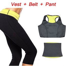 Wholesale Slimming Body Clothes - Wholesale-( Pants+Vest+Belt) HOT Selling Super Stretch Neoprene Shapers Sports Clothing Sets Women's Slimming Pants Modeling Girdle Body