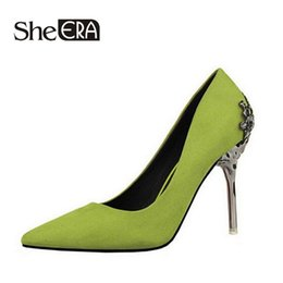 Wholesale Thin Pig - She Era Fashion sexy women pumps carved metal scarpe donna thin high-heeled women suede shallow mouth pointed wedding shoes