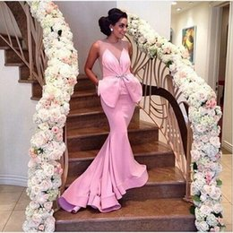 Wholesale Trumpet Bowknot - Mermaid Evening Dresses Jewel Neck Illusion Bust Modest Evening Gown Formal robe de soiree Party Prom Dresses with Bowknot