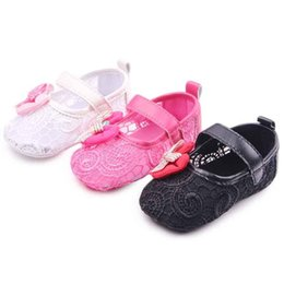 Wholesale Design Dress Material - New Arrival Toddler Dress Shoes for Girls Fretwork Design Bowknot Air Mesh Material Breathable Hook&loop Band Soft Sole Baby Girl Shoes