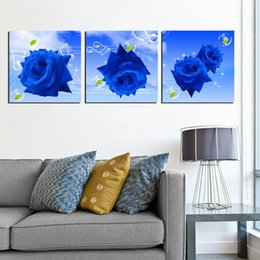 Wholesale Canvas Pier - unframed 3 Pieces picture free shipping Canvas Prints Blue rose LOVE chinese characters Calla Lily Cartoon apple Wooden pier Dandelion