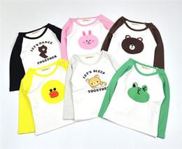 Wholesale Childrens Animal T Shirts - 100% Cotton Long Sleeve tshirts Spring Autumn Boys Girls Baby Childrens T-shirts Cartoon Patchwork Shirts Kids Clothing Pajamas Tops Clothes