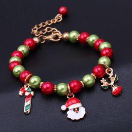 Wholesale Drip Lucite - Newest bead bracelets Santa Claus Reindeer Bracelets Drip acrylic beads bracelets Unisex Christmas Gift free shipping