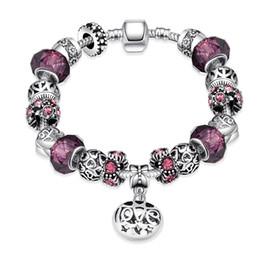 Wholesale Hot Sell Charm Beads - 2016 Hot Selling Fashion Charm Purple Zircon Silver Plated Bracelets European Charm Snake Chain DIY Beads Fits Pandora Bracelets for Women