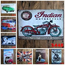 pinturas da arte indiana Desconto Motocicleta indiana Norton rider clássico Coffee Shop Bar Restaurante Arte Da Parede decoração Bar Metal Pinturas 20x30 cm sinal de lata 10 pçs / lote