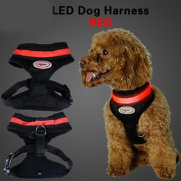 Wholesale Dog Walking Light - Flashing Led Pet Harness Led glowing puppy Harness Soft mesh fluorescent Pet cat Dog Vest Harness and collar for walking harness