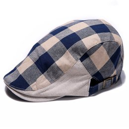 Wholesale Black Ivy Cap - Wholesale-New Men Women Checked Duckbill Ivy Cap Golf Driving Flat Cabbie Newsboy Beret Hat