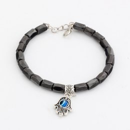 Wholesale Evil Eye Loose - Hot ! 10 pcs fashions Hamsa Hand String Evil Eye Black Magnetic Hematite 18 Faceted Beads Metals Alloy Loose Bead Beaded bracelet