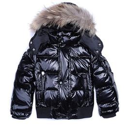2019 ragazze calde giù giacca Hot Brand Winter Down Coat Warm Bambini Giacche con cappuccio per le ragazze dei ragazzi Real Raccoon Fur Clothes Retail Capispalla Bambini Fashion Sale ragazze calde giù giacca economici