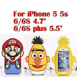 """Wholesale Iphone Silicone 1pcs - (1pcs)for New Cute 3D Cartoon Super Mario pineapple head Soft SIlicone Cover Case For iPhone 5 5s 6 6S 4.7'' 6 6S plus 5.5"""""""
