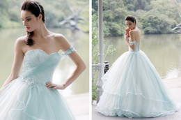 Wholesale Green Fairy Pictures - 2018 Ice Blue Princess Fairy Tale Lace Quinceanera Dresses One Shouler Long Ball Gown Prom Dresses Custom Sweet 16 Dresses