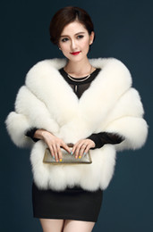 Wholesale Long Black Velvet Cape - 2017 Long Sleeves Wedding Bolero Jacket Wraps Cape Shawls Faux Fur Bridal Cape In Stock Cheap