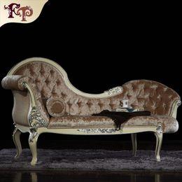 Madeira maciça antiga on-line-Estilo Rococó francês Espreguiçadeira Chaise Lounge mobiliário clássico italiano, europeu clássico antigo mobiliário de quarto de luxo madeira maciça chaise loungue