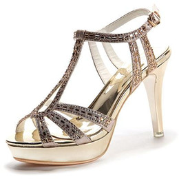Wholesale Leather Sandals For Ladies - New Summer Sandals For Women Fashion Stiletto Heel Sandals Ladies Sexy Rhinestone Sandals Girls Lovely Open-toed Sandal Party Shoes