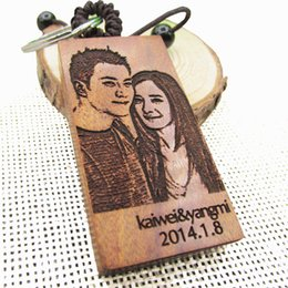 Wholesale Classic Cars Cheap - FREE Engraved Photo Personalized Keychain Wooden Rectangle Key ring cheap name keychains Laser Engraved With Any Messaage 2.2''*1.19' #KW01C