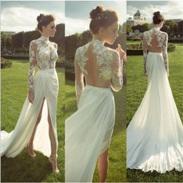 Wholesale Top Selling Bridal Lines - High Neck Illusion Lace Top Chiffon Skirt Wedding Dress Split Leg Sexy Outdoor Wedding Bridal Gown Hot Sell