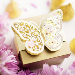 Wholesale Butterfly Wedding Cards Design - 50Pcs Lot Gold Champagne Color Candy Boxes Unique Butterfly Design Wedding Favor Holders Gift Box 2016 June Style